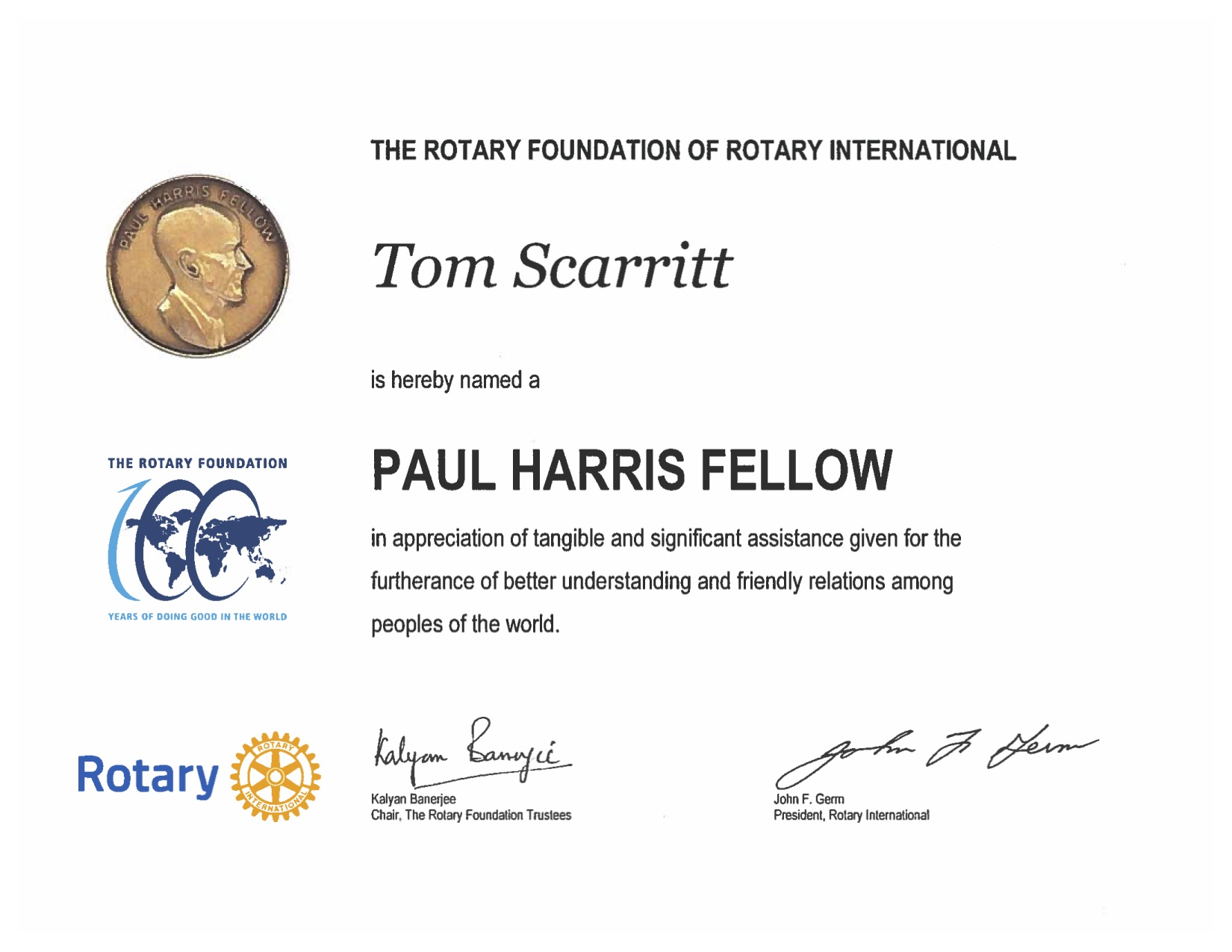 Attorney Tom Scarritt Recognized as a Paul Harris Fellow by Rotary International Foundation
